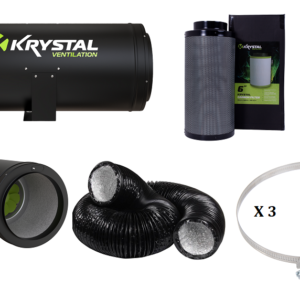 "High performance 6"" Acoustic fan & filter kit Krystal High performance 6"" Acoustic fan Easy installation- 2 mountable positions Sound reducing acoustic technology Exceptional static pressure performance. 6"" carbon filter 150x600mm Air flow 900m3/h Combi Ducting has an aluminium and polyester inner shell. This is supported by a sturdy steel wire helix with the added protection of a PVC outer layer. The result? A strong and sturdy ventilation essential! 3 X Ducting Quick Release Clips"